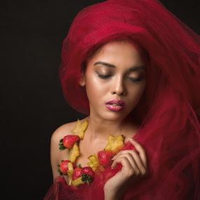 Red by Peter Rooney - People Portraits of Women ( fruit, red, female, woman, fine art, beauty, portrait, best female portraiture )