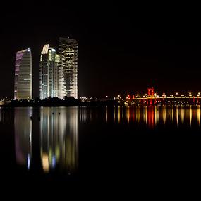 turn leftEdit  by Danial Abdullah - City,  Street & Park  Vistas ( canon, water, reflection, building, night-life, putrajaya, at night, lake, ts-e, 24mm, city, 7d, night, bridge, lakeside, light )