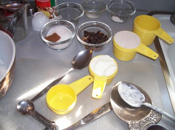 in a medium bowel, combine the flours,baking poder,soda, cinnamon and salt to pumpkin mixture. stirring...