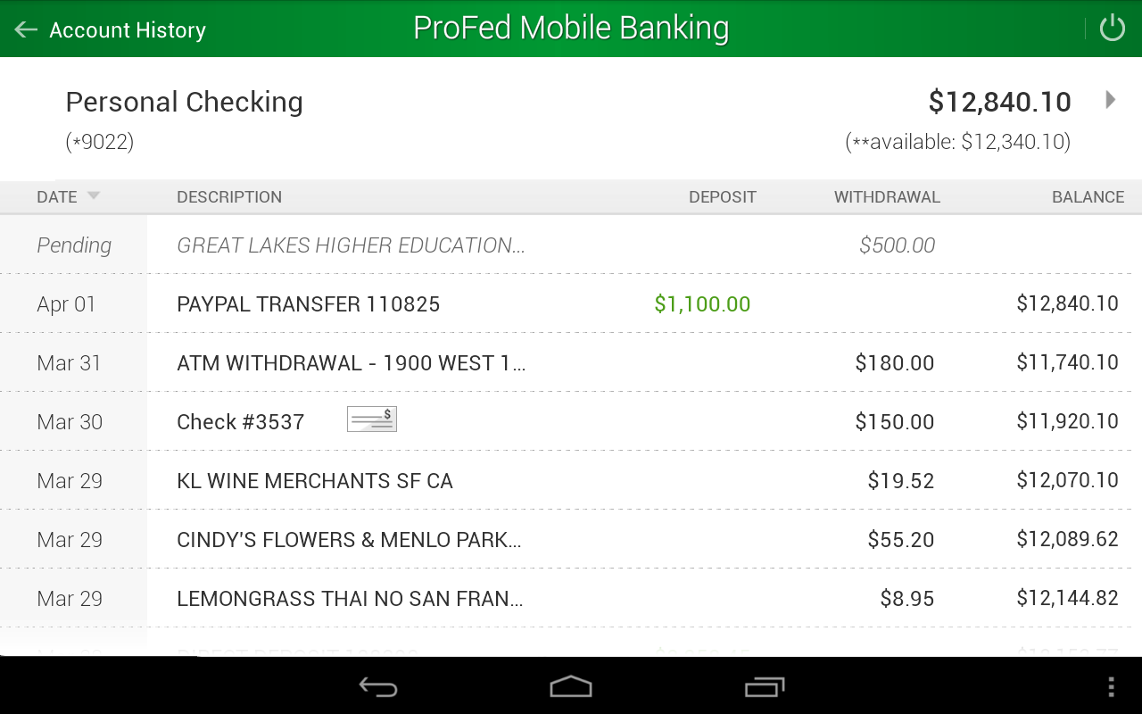 ProFed Online Mobile Banking- screenshot