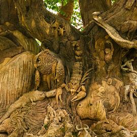 Tree by Jennifer  Loper  - Artistic Objects Other Objects ( monkey, bat, owl, animal kingdom, tree, walt disney world, carved, scorpion )