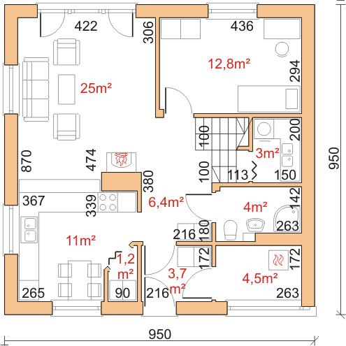 Dom przy Cyprysowej 2 bis - Rzut parteru