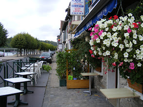 Photo: Now in the neighboring town of St. Mammès. where the Loing river ends it 88 mile run from Sainte-Colombe-sur-Loing as it flows into the Seine. The Quai de Seine is quiet on this Thursday afternoon, but I'm betting these cafés, and the riverside tables on the other side of the street, are popular on sunny weekend afternoons.