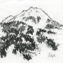 """Photo: """"montagne"""" encre de chine sur papier de murier , petit format"""
