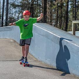 Skateboarding by Garry Dosa - Babies & Children Children Candids ( sports, outdoors, shadow, action, skateboarding, people, boy, march, park, child )