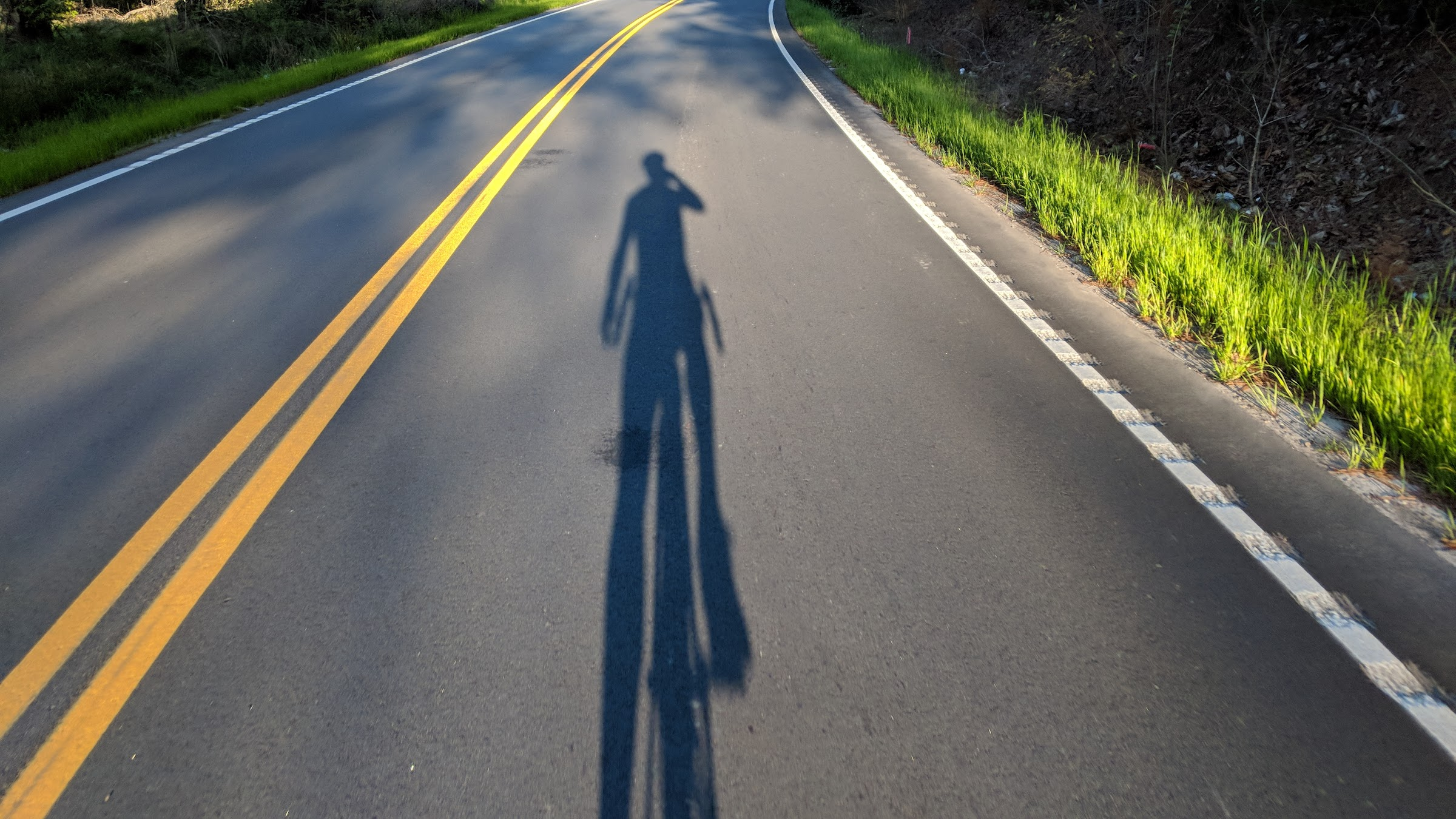 Bicycle shadow on road