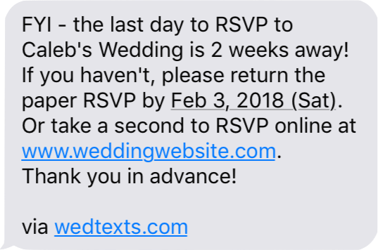 How to easily remind your wedding guests to RSVP.