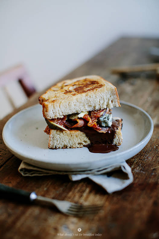 Hot Sandwich With Chocolate, Bacon, Blue Cheese And Figs