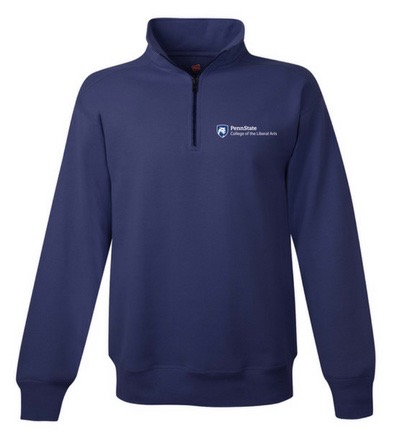 This is a navy Sport-Tek 1/4 zip sweatshirt with the college mark embroidered on it.