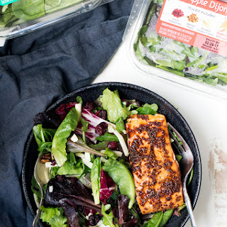 30 Minute Honey Garlic Salmon with Apple Dijon Green Salad Recipe