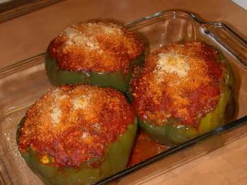 HOMEMADE STUFFED PEPPERS W BEEF