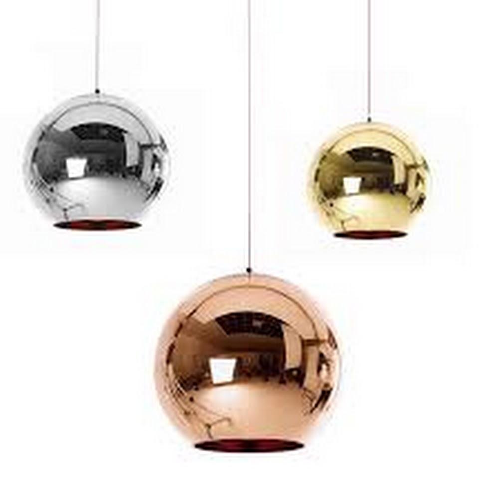 MIRROR GLASS COPPER SHADE BALL PENDANT LIGHT