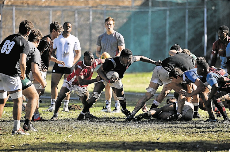 Craven Week teams during a practice session held at Hudson Park High School yesterday.
