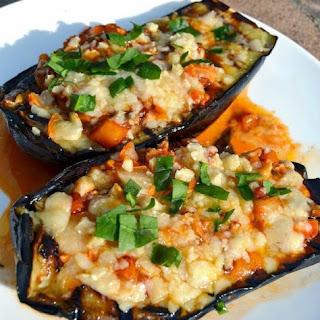 Grilled Eggplant Parmesan Boats.