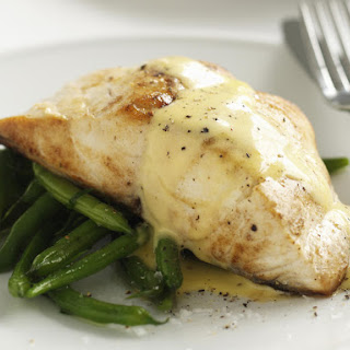 Pan-Seared Fish with Green Beans and Hollandaise.