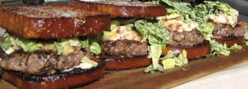 """Bacon Brie Burgers with Caesar on Brioche """"Quite possibly the BEST burger..."""