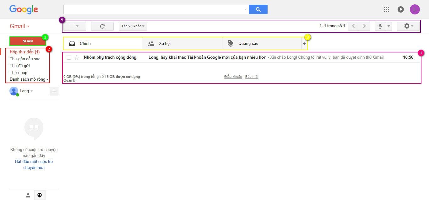 Giao diện quản lý Gmail