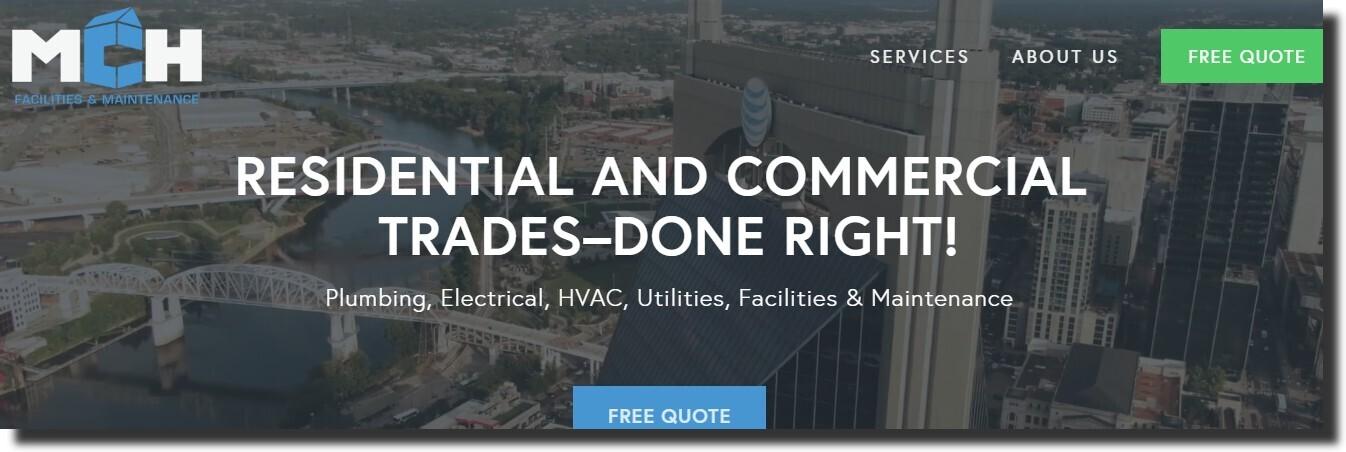 MCH in Nashville website Plumbing Website Design