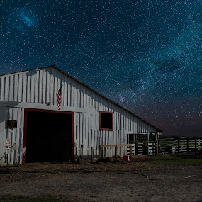 Starry Night by Trey Amick - Buildings & Architecture Bridges & Suspended Structures ( milkyway, texas, horse, xt-2, star, milky way, horse rescue, night photography, barn, stars, fujifilm, frisco, fuji, night )