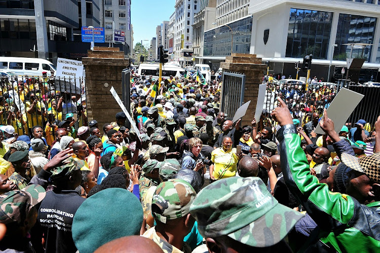 ANC members at the High Court in Johannesburg where presidential hopeful Mathews Phosa abandoned his bid  on Tuesday to have the court hear an urgent application around alleged irregularities in the nominations process in Mpumalanga.  Picture: SOWETAN/VELI NHLAPO