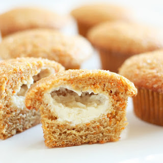 Cream Cheese Filled Carrot Cake Muffins