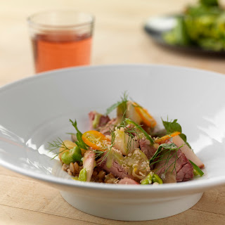 Shaved Ham Salad with Pickled Fennel, Spelt, Spring Vegetables and Smoked Lard Vinaigrette.