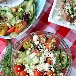 Greek-Style Cucumber, Tomato, and Feta Salad.