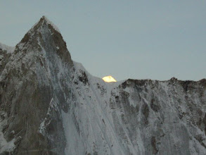 Photo: Mt. Thalaysagar (behind Meru 'Shark fin') at sunrise...