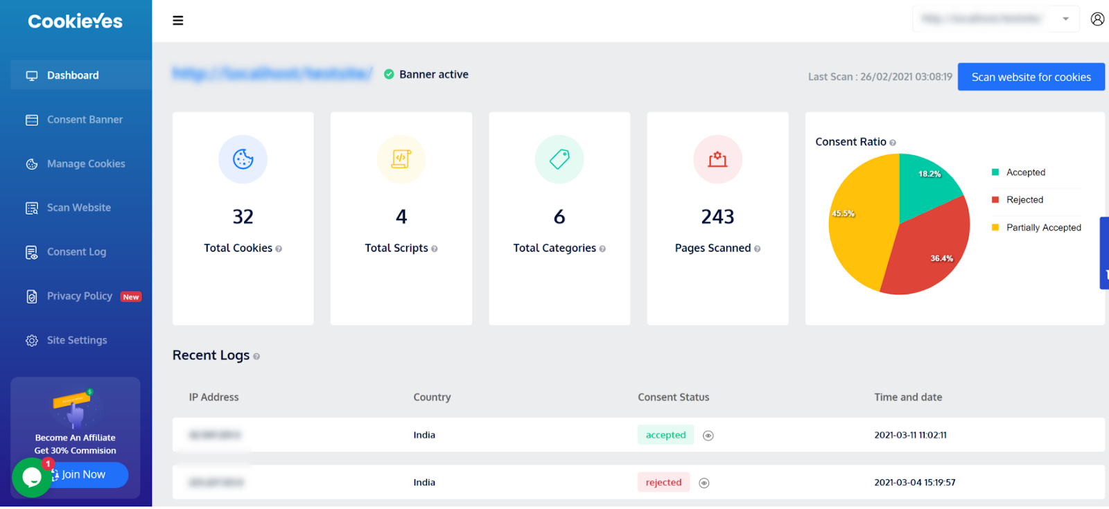 cookieyes cookie consent solution dashboard