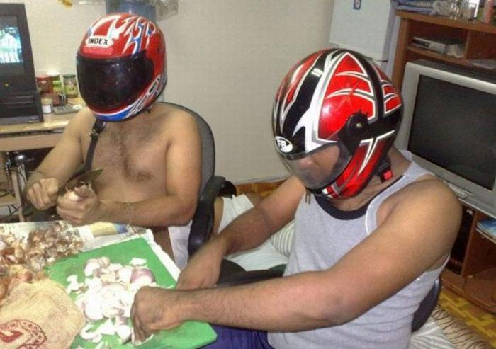 Image result for cutting onions wearing helmets