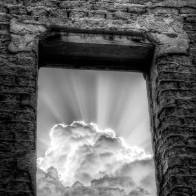 Looking Up by Roch Hart - Buildings & Architecture Other Exteriors ( clouds, ray, new mexico nm, ruin, bw, adobe, rays, sun, southwestern, black and white, looking up, cloud, ruins, adobe bricks, sw, abandoned )