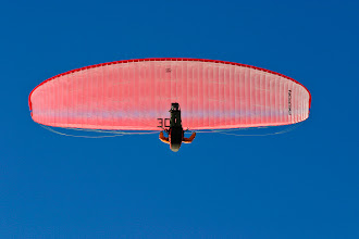 Photo: Here's an old shot of mine of a paraglider at Leysin ski resort, Switzerland cruising overhead on a perfect calm day.  This upload was inspired by +Athena Carey's recent post with her paragliding photos from Mürren (https://plus.google.com/110258598415939907971/posts/GRQw11c67Ke). If you haven't already circled her you should do so, she contributes a lot to conversations and posts some great pics!