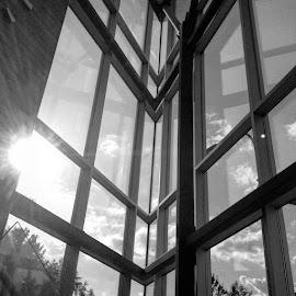 Windows by Ernie Kasper - Instagram & Mobile iPhone ( clouds, instagram, building, black and white, windows, architecture, sunlight, bnw, light, design, instagood )