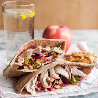 Pita Pockets with Crunchy Romaine, Roasted Beets, Chicken & Manchego Cheese.