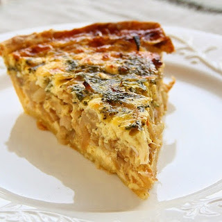 Onion Feta Quiche with Balsamic Reduction
