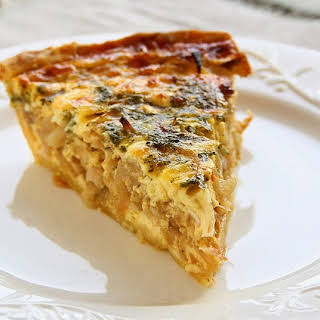 Onion Feta Quiche with Balsamic Reduction.