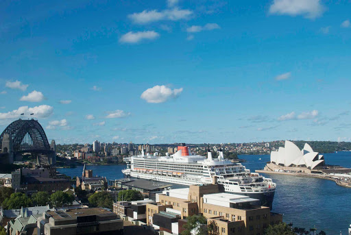 Queen-Mary-in-Sydney-Harbour -   Queen Mary 2 in Sydney Harbour.