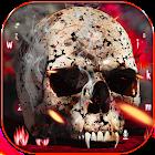 Crâne de feu d'horreur clavier thème icon
