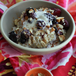 Coconut Steel Cut Oats with Berries & Coconut Whipped Cream