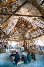 Photo: Inside the Temple of Juno at Burning Man 2012. Besides the gentle wind coming through the lattice, you could hear a pin drop.