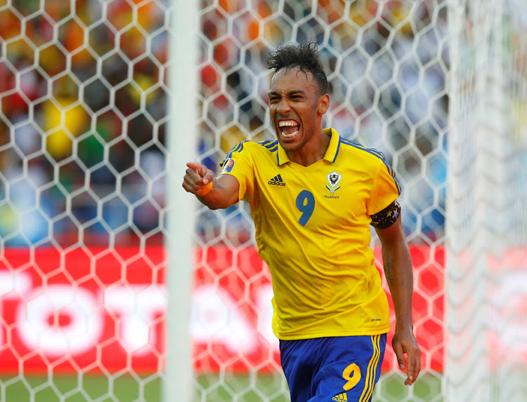 Gabon's Pierre-Emerick Aubameyang celebrates scoring a goal at Afcon 2017. He plays his club football in Germany for Borussia Dortmund. Picture: REUTERS