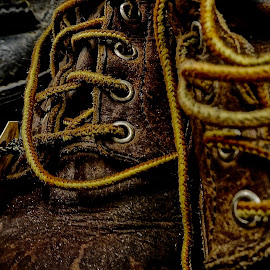 Working Worn by Barbara Brock - Artistic Objects Still Life ( leather boots, men's boots, men's footwear, working boots, old shoes, men's shoes, leather )