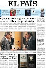 Photo: Rajoy deja sin la paga del IPC a más de ocho millones de pensionistas, Defensa destituye a un general por criticar el soberanismo de Mas, Israel castiga la votación en la ONU con 3.000 nuevas viviendas en Palestina, Strauss-Kahn negocia pagar a la camarera 4,6 millones para cerrar el caso y Peña Nieto forma en México un Gobierno abierto a otros partidos, entre los titulares de nuestra portada del 1 de diciembre de 2012. http://srv00.epimg.net/pdf/elpais/1aPagina/2012/12/ep-20121201.pdf