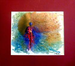 Photo: 034 AWAKENING ~ РОЗКВІТ Luba Bilash original 18.5 x 16.5 in. mixed media matted $175