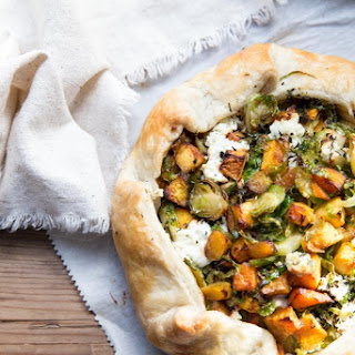 Butternut Squash and Brussels Sprout Galette with Goat Cheese.
