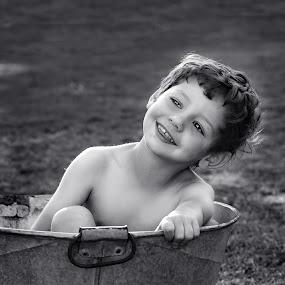Fun by Susan Van Wyk - Babies & Children Child Portraits ( bath, smile, small, boy )