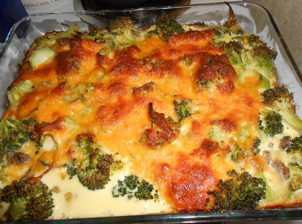 Spread beef mixture over dough, sprinkle with broccoli. Mix remaining ingredients and pour over...