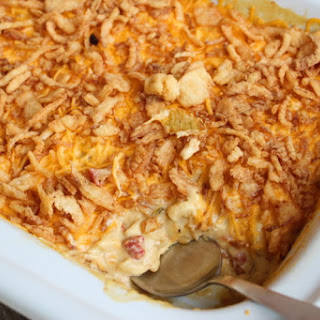 Slow Cooker Creamy Chicken Macaroni Casserole.