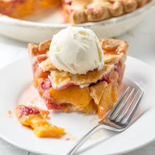 Peach Raspberry Pie with a Lattice Crust.