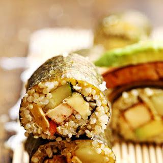 Vegan Quinoa Sushi with Tofu Steaks and Chickpea Bean Egg.